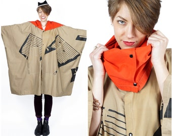 Oversized Vintage Brown Cotton Cape w/ Black Graphic Nautical Design & Bright Red Funnel Neck by Marks:Remarks | XS Small Medium Large XL OS