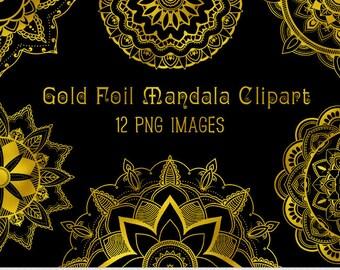 Gold Mandala Clipart Vector Mandala Clip Art Henna Tattoo Lotus Flower Clipart Digital Mandala Scrapbooking Tribal Oriental