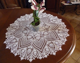 Handmade large crochet white cotton doily.