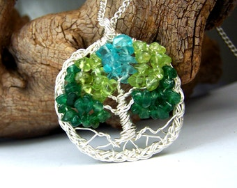Celtic Knot Family Tree Birthstone Necklace pendant - Christmas gift  Tree of Life Great Grandmother Mother in law  Personalized braided