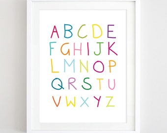 Alphabet Art Nursery Print Printable Alphabet Poster Multicolor Alphabet Letters Print Kids Wall Art ABC Poster Baby Gift Digital Download