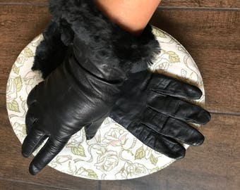 Vintage Leather Black Gloves