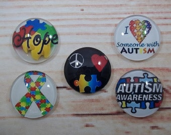 Autism Awareness, Fridge Magnets, Glass Kitchen Magnets, Set of 5, Kitchen Decor, Mom Gift, Mothers Day Gift, Special Needs Children, Autism