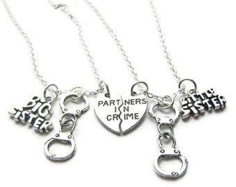 2 Partners In Crime Sisters Handcuff Necklaces, Best Friends Necklaces, Sisters Necklaces, Handcuff Necklaces, Friends Necklaces