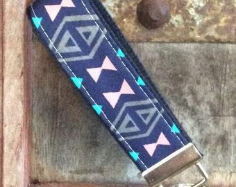 READY TO SHIP-Beautiful Key Fob/Keychain/Wristlet-Tribal on navy-3