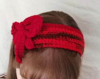 Red Variegated crochet headband/headwarmer.