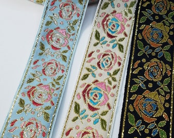 Metallic Roses Jacquard Fabric Trim 1 1/2 inch wide sold by the yard