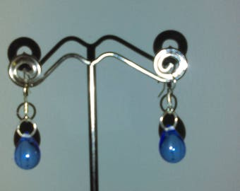 Blue glass teardrop earrings