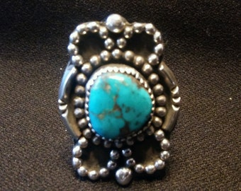 Large Turquoise Beaded Petal Ring size 8 3/4