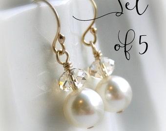 Bridesmaid earrings set of 5 pearl earrings bridesmaid gift Swarovski crystal earrings clear or champagne crystal ivory pearl, white pearl,