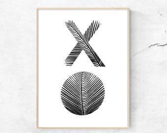 X O Print, Typography Art Print, Typography poster, Minimalist wall art, Hugs and Kisses, Modern Wall Art, digital wall art, typography art
