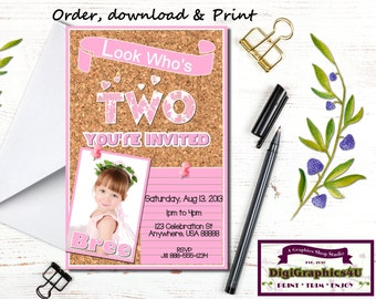 Toddler Birthday Party Invitation for 2 year Old Girls, Corkboard Inspired - Printable File