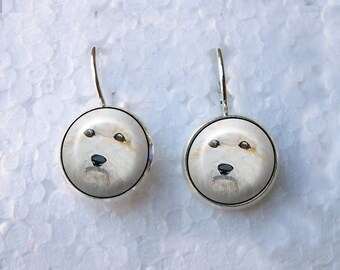 Bichon Frise Earrings ~ Lever Back Earrings ~ Bichon Paintings  ~ Birthday Gift ~ Dog Jewelry ~ Bespoke Earrings