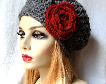 Charcoal Grey Womens Hat, Slouchy Beret, Ohio Buckeye, Red Rose Flower, Cancer hat, Chunky, Teens, Winter, Birthday Gifts for Her JE407SBTF2