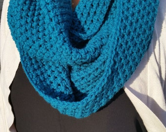Teal Infinity Scarf, Blue Infinity Scarf, Teal Scarf, Blue Scarf, Teal Crochet Scarf, Blue Crochet Scarf, Teal Crochet Infinity Scarf
