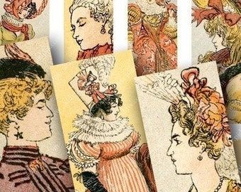 Marie Antoinette and 500 years of French Fashion in 1x3 inches Three for slides and more -- piddix digital collage sheet 620