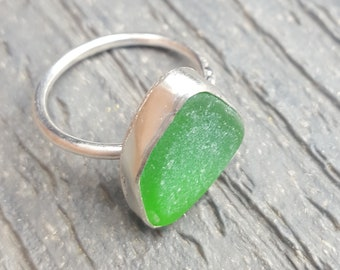 Sea Glass Ring Mini Ring Stacker Ring Stacking Ring Kelly Green Sea Glass Jewelry Kelly Green Beach Glass Size 7 - R-192 Mothers Day Sale