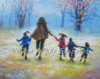 Mother Four Daughters Art Print, four sisters, four girls, mom, wall art, motherhood, mother's day gift, art, painting, Vickie Wade art