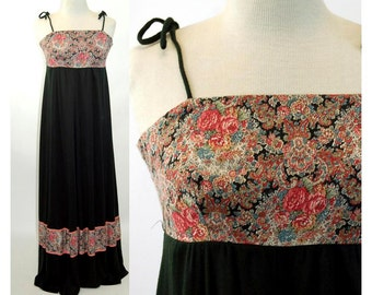 1960s maxi dress boho peasant dress long black pink paisley floral empire waist Renaissance style PBJ Jerell Size M