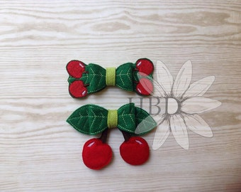 Lucky Cherry, Heart Cherry AND Double Lucky Cherries 3D Bow Digital Embroidery Files