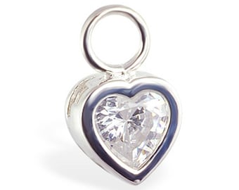 Solid 14K White Gold Clear Cz Heart Belly Button Ring Removable Swinger Charm by TummyToys (78200)