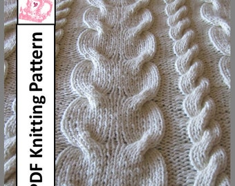 PDF KNITTING PATTERN, Cable knit blanket knitting pattern,  knitting pattern for throw blanket
