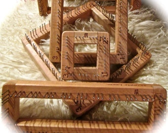 3 Dollar Coupon Hardwood Cherry or Walnut Pin Looms Square or Triangle EASY & FUN Weaving Frames Sizes Super Fast Shipping!