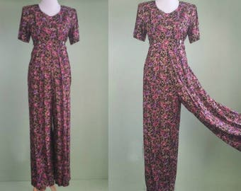 1990s Rayon Wide Leg Pantsuit - Vintage 80s 90s Jumpsuit - Ditsy Floral - 7/8