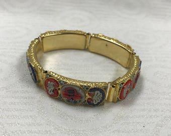 "a122 Vintage Authentic Handcrafted Women's Micro Mosaic Bracelet 7 1/2"""