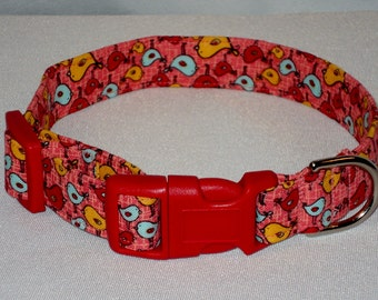 Bird print colorful pet collar