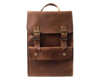 Leather bag brown, traveling backpack, leather rucksack, school bag, brown backpack, hipster rucksack, simple backpack, handmade,light brown