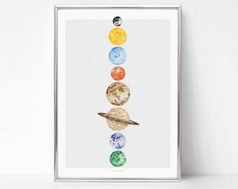 Art print planet watercolor poster