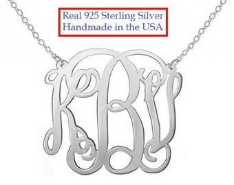 """SALE 1.5"""" Sterling Silver Monogram Necklace 1.5 in Personalized Monogram 925 sterling silver"""
