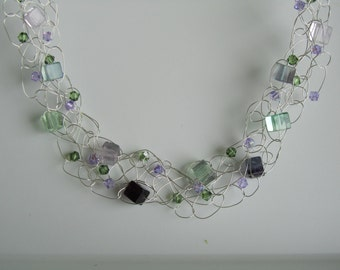 Handmade Silver crocheted necklace with Fluorite and crystal beads