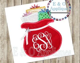 Santa Embroidery Design - Santa Sack Applique - Santa Applique Design - Santa Sack Embroidery Design - Christmas Embroidery Design - Gifts