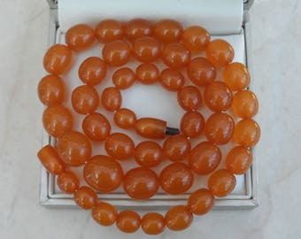 "Gorgeous 20.5"" Antique Honey Baltic Amber Bead Necklace 31.18g"