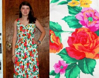 SALE M Vintage 80s Long Floral Dress