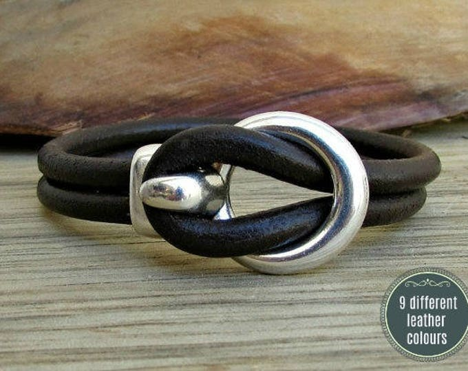 Featured listing image: Mens Leather Bracelet Leather Men Bracelet Cuff  Brown Black Antique Silver Plated Customized On Your Wrist MS1