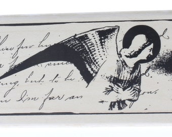 Angel Fresco Romantic Collage Stampington And Co Wooden Rubber Stamp