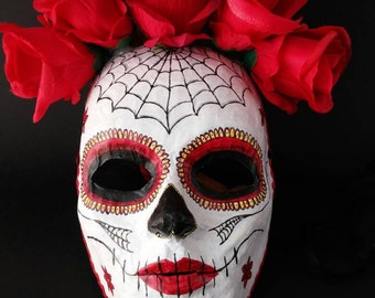 Masquerade mask, Paper mache mask, Halloween mask, Day of the Dead mask, Handcrafted mask