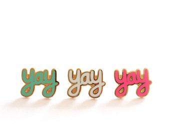 Yay Pin Badge, Yay Enamel Pin, Lapel Pin Brooches, Pins, Pin badges, RockCakes Jewellery, Birthday Gift, Brighton, UK
