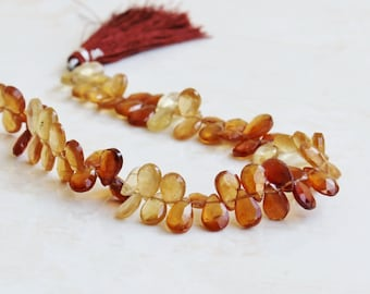 Hessonite Garnet Gemstone Briolette Faceted Pear Teardrop 9 to 9.5mm 23 beads