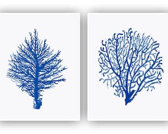 L'art nautique, mer 2 ventilateur estampes, seafan corail, décor de ventilateur de mer, mer ventilateur bleu marine, décor de chalet de plage, inspiré de la nature, décor côtier