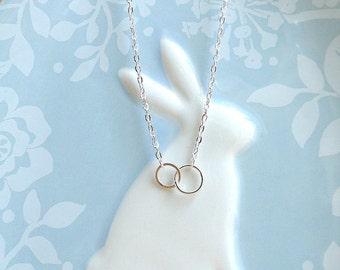 Loop silver necklace, delicate silver necklace, Infinity Necklace, Eternity Necklace, Everyday Necklace, loop necklace bridesmaid gift