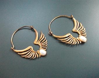 Vintage Sterling Silver 925 Vermeil Cabochon Pearl Dangle Drop Pierced Earrings