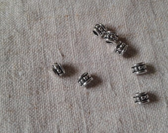 set of 10 beads, large holes in silver