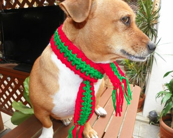 Dog Scarf Neck Warmer Christmas Dog Scarf  Red and Green Sizes XXSmall-XXXXLarge