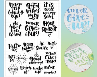clear Stamp Set / Clear Stamps / quotes calligraphy themed  transparent stamps