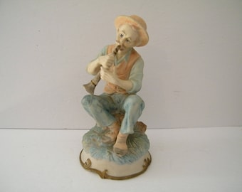 Ceramic Minstrel Figurine, Vintage man playing flute on stump, pied piper, signed collectible,