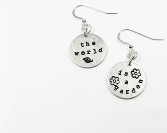 Literary Quote Earrings - The Secret Garden - Book Quotation Jewelry With Flower And Leaf